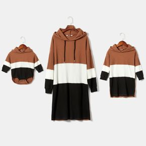 Ribbed Colorblock Long-sleeve Hooded Casual Sweatshirt Dress for Mom and Me
