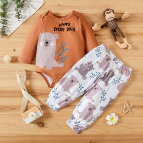Baby Girl 2pcs Cartoon Bear and Letter Print Long-sleeve Romper and Trouser Set