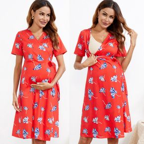 Maternity Floral Print V-neck Robe & Nightgown