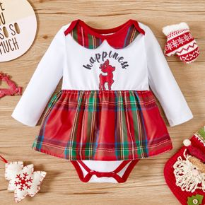 Christmas Reindeer and Letter Print Baby Girl Red Plaid Doll Collar Romper Dress