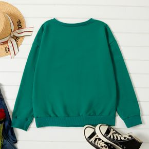 Graphic Christmas Green Long-sleeve Pullover For Women