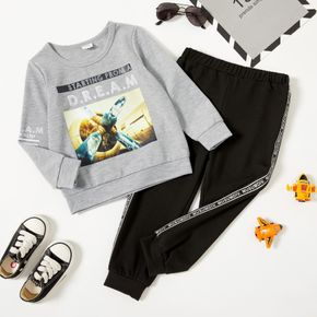 2-piece Toddler Boy Letter Vehicle Print Long-sleeve T-shirt and Elasticized Pants Casual Set