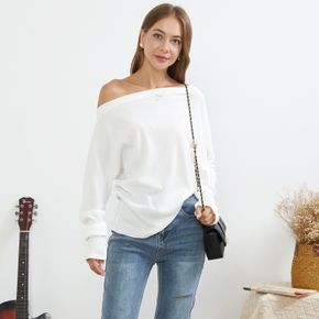 Solid Boat Neck Long-sleeve Women Normal Pullover
