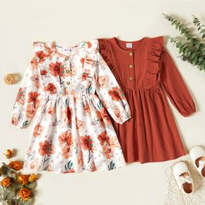 Toddler Girl Floral Print/Solid Ruffle Button Design Long-sleeve