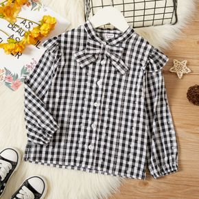 Toddler Girl Bowknot Button Design Long-sleeve Plaid Blouse