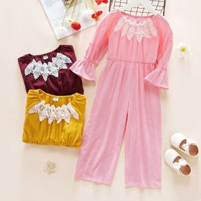 Toddler Girl Solid Lace Long-sleeve Jumpsuit