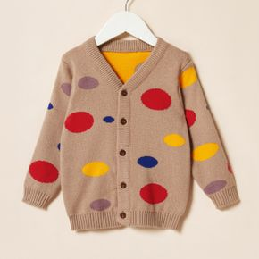 Toddler Girl Colorful Polka dots Button Design Knit Sweater
