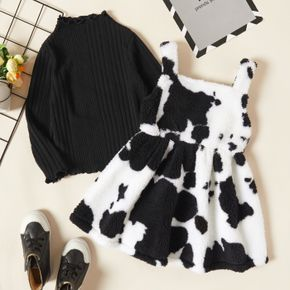 2-piece Toddler Girl Lettuce Trim Ribbed Knit Black Top and Cows Print Fuzzy Overall Dress