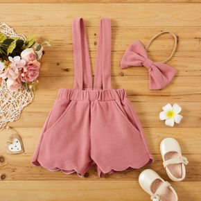 Baby 2pcs Solid Pink Corduroy Overalls Suspender Shorts