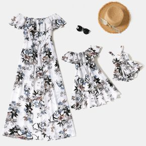 Floral Print White Ruffle Off Shoulder Maxi Dress for Mom and Me