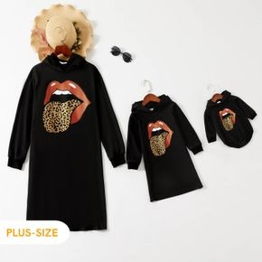Red Lips Leopard Tongue Print Black Long-sleeve Hoodie Dress for Mom and Me
