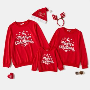 Merry Christmas Letter Print Red Family Matching Long Sleeve Sweatshirts