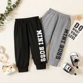 Baby Boy Letter Print Solid Sweatpants Jogger