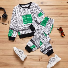 2-piece Kid Boy Letter Print Colorblock Long-sleeve Top and Elasticized Pants Casual Set