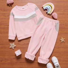 2-piece Kid Girl Colorblock Fuzzy Pullover and Elasticized Pants Set
