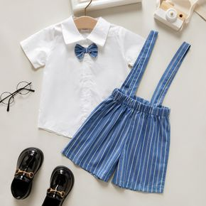 2-piece Toddler Girl/Boy 100% Cotton Bow Tie Decor Short-sleeve White Shirt and Striped Overalls Set