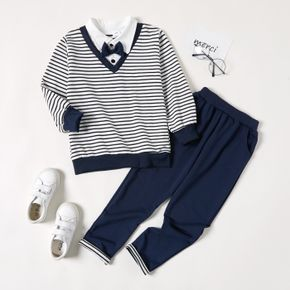 2-piece Kid Boy Stripe Faux-two Lapel Collar Top with Bow tie and Elasticized Pants Party Set
