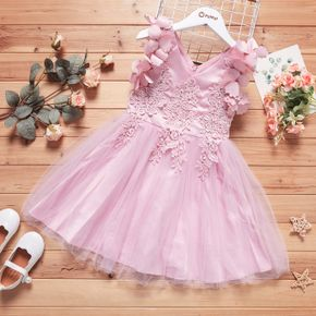 Kid Girl V Neck Vivid Floral Embroidered Sleeveless Bowknot Princess Costume Party Pink Tulle Dress