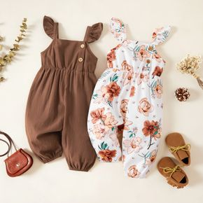 Baby Girl Solid Brown/White Floral Print Flutter-sleeve Jumpsuit Overalls