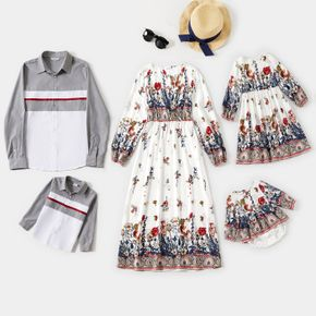 Allover Plant Print and Splice Long-sleeve Matching Family Sets