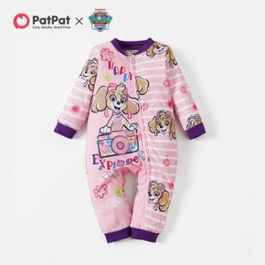 PAW Patrol Little Girl Graphic and Stripe Zipper Jumpsuit