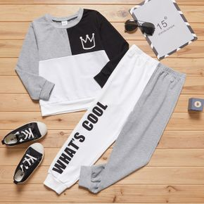 2-piece Kid Boy Letter Print Colorblock Pullover and Pants Casual Set