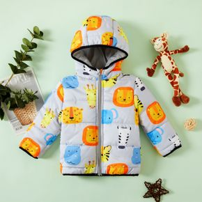 Baby Boy All Over Cartoon Animals Print Thickened Lined Long-sleeve Hooded Coat Outwear