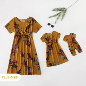Plant Print Short-sleeve Round Neck Belted Midi Dress for Mom and Me