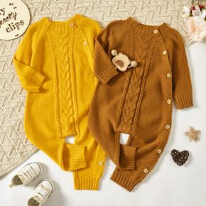 Baby Boy/Girl Solid Long-sleeve Knitted Sweater Jumpsuit
