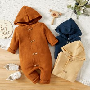 Baby Boy/Girl Solid Double Breasted Long-sleeve Hooded Knitted Jumpsuit