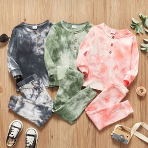 2-piece Toddler Girl/Boy Tie Dye Long-sleeve Ribbed Henley Shirt and Elasticized Pants Set