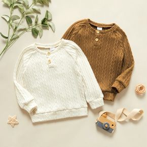 Toddler Girl/Boy Button Design Cable Knit Sweater