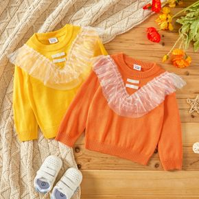 Baby Girl Ruffle Mesh Splicing Solid Long-sleeve Knitted Sweater