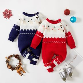 Christmas Deer Red/ Blue Long-sleeve Baby Knitted Jumpsuit