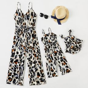 All Over Leopard Print V Neck Sleeveless Spaghetti Strap Jumpsuit for Mom and Me