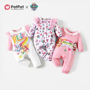 PAW Patrol Little Girl Rainbow and Heart Allover Cotton Jumpsuit