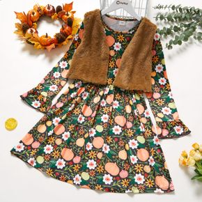2-piece Kid Girl Halloween Floral Pumpkin Print Bell sleeves Dress and Solid Fuzzy Cardigan Set