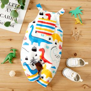 Baby Boy All Over Multicolor Dinosaur Print Sleeveless Jumpsuit Overalls