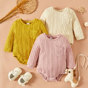 Baby Girl Cable Knit Solid Long-sleeve Romper