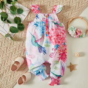 Baby Girl Bird and Floral Print Ruffle Flutter Sleeve Overalls