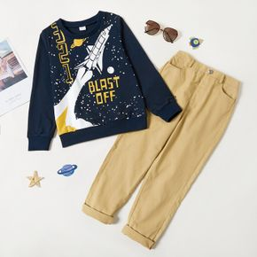 2-piece Kid Boy Space Rocket Letter Print Pullover Sweatshirt and Solid Pants Set
