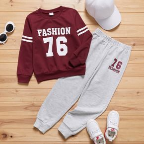 2-piece Kid Boy Letter Number Print Brick Red Pullover and Grey Pants Set