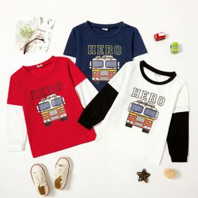 Toddler Boy Letter Vehicle Print Colorblock Long-sleeve Tee