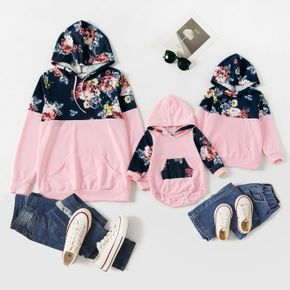 Floral Print and Pink Splicing Long-sleeve Hoodie Sweatshirt for Mom and Me