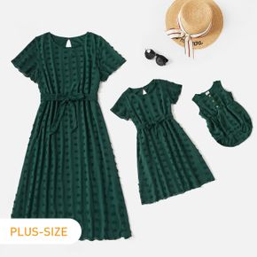 Solid Dark Green Swiss Dot Round Neck Short-sleeve Belted Chiffon Dress for Mom and Me