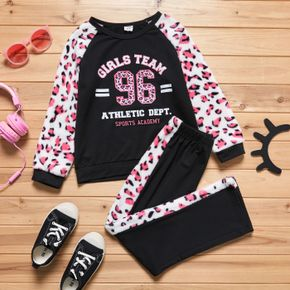 2-piece Kid Girl Letter Leopard Print Fuzzy Pullover and Elasticized Pants Set