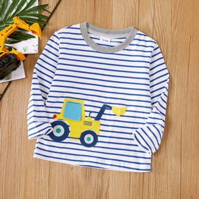 Toddler Boy 100% Cotton Vehicle Excavator Embroidery Stripe Long-sleeve T-shirt