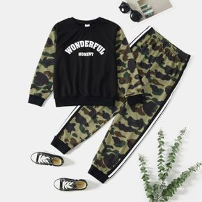 2-piece Kid Boy Letter Camouflage Print Pullover and Elasticized Pants Set