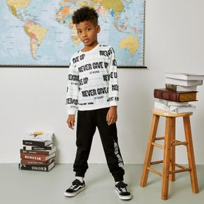 2-piece Kid Boy Striped Letter Print Long-sleeve Top and Elasticized Sporty Set
