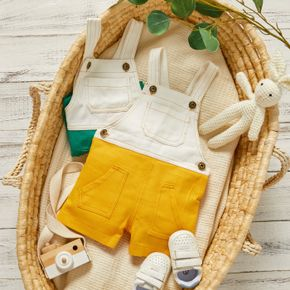 Colorblock Sleeveless Baby Denim Suspender Overalls Shorts with Pockets